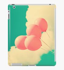 Happy Pink Balloons on retro blue sky  iPad Case/Skin