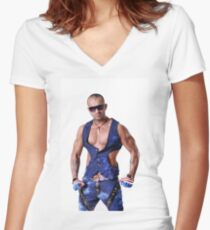 Muscular Male Torso Women's Fitted V-Neck T-Shirt