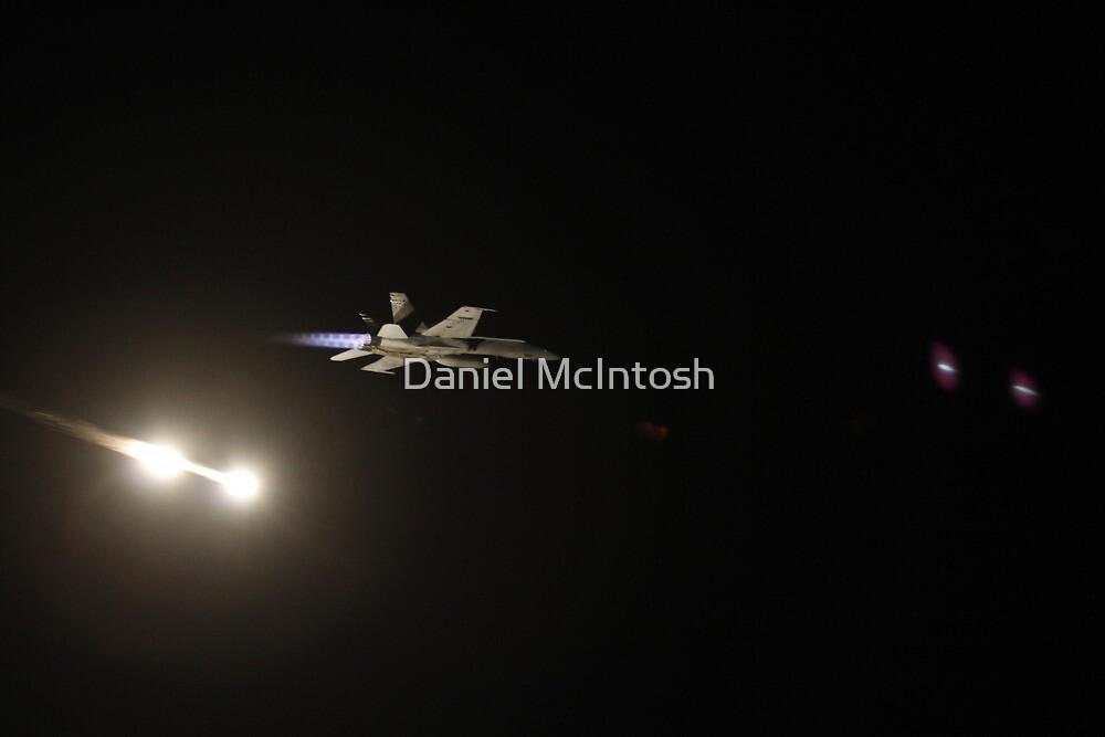 F/A-18 Hornet flares night by Daniel McIntosh