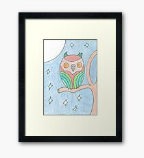 Colourful Owl Original Drawing Framed Print