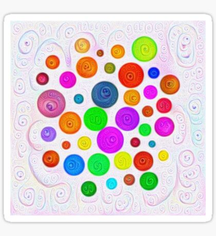 #DeepDream Color Circles Visual Areas 5x5K v1448374069 Sticker