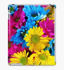 Daisy Flowers, Petals, Blossoms - Blue Yellow Pink iPad Case/Skin