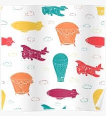 Pattern with aeronautic transport Poster