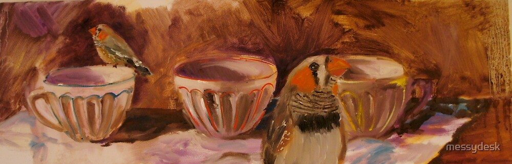 Photo Bomber (Zebra Finches) by messydesk