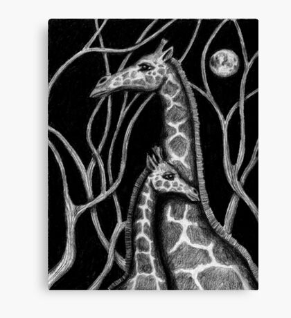 Giraffe colored pencils drawing Canvas Print