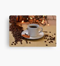 Coffee cup with golden coffee beans  Canvas Print