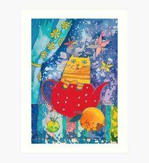 Cat in Red Teapot Art Print