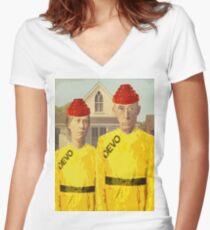 American Devo Women's Fitted V-Neck T-Shirt