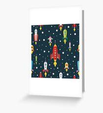 cartoon spaceships launch Greeting Card