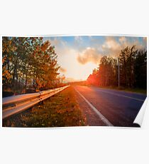 Sunset Over The Road Poster