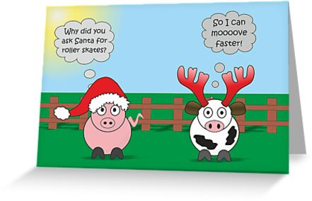 Funny Animals Christmas Design Hilarious Rudy Pig Moody Cow