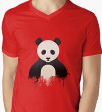Panda Graffiti red Men's V-Neck T-Shirt