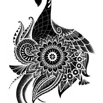 Peacock Flow Mandala - Black by HAMUSIT