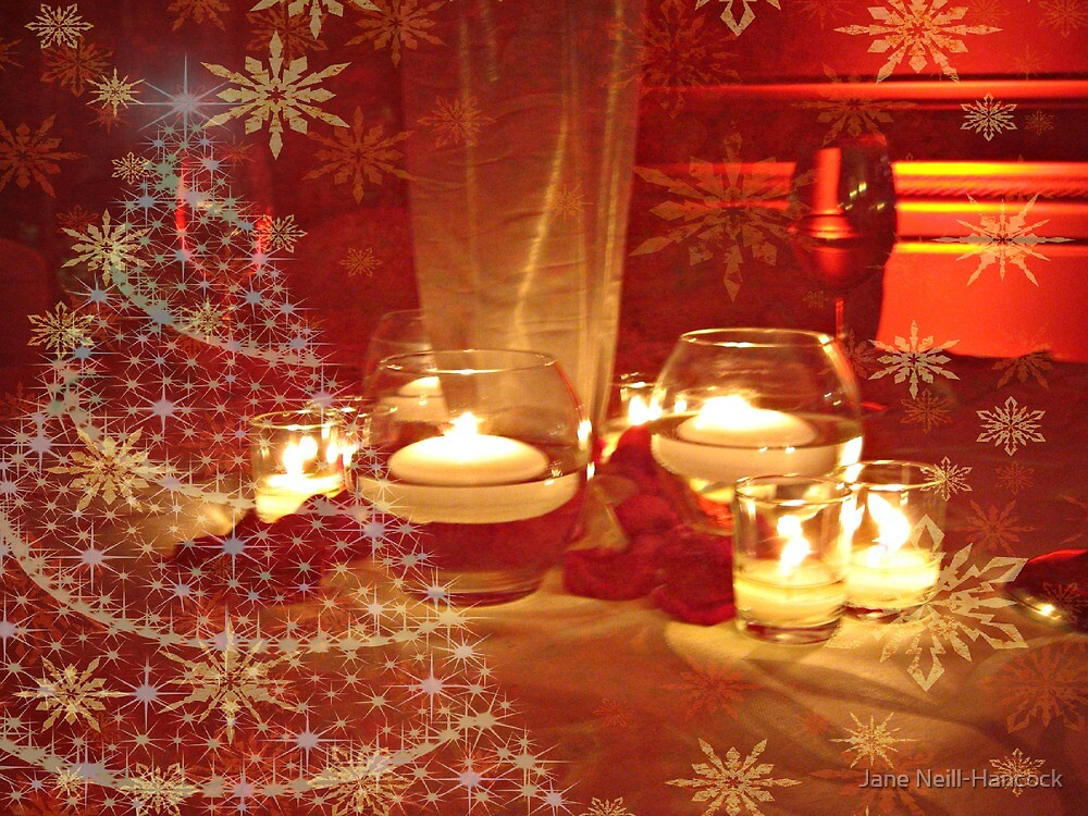 Rose Petals and Candles At Christmas by Jane Neill-Hancock