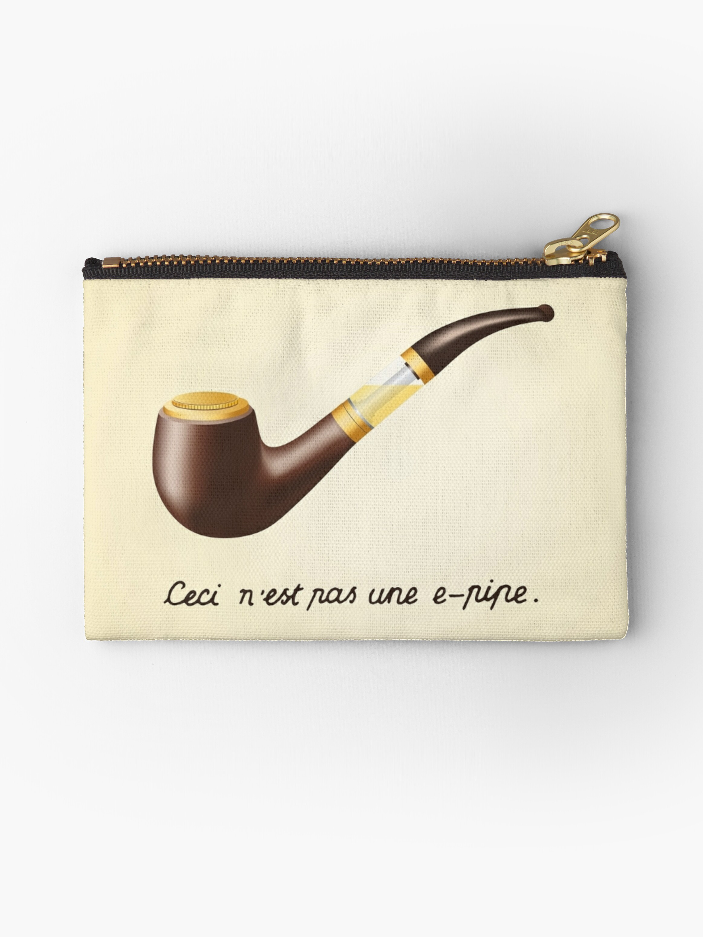 ceci n 39 est pas une e pipe studio pouches by vapeorama redbubble. Black Bedroom Furniture Sets. Home Design Ideas