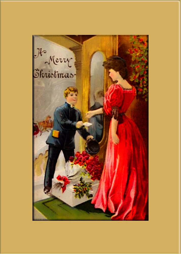 Flowers for the Holidays Christmas Card by Pamela Phelps