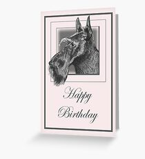 Pencil Drawing of Scottish Terrier (Scottie Dog) on Birthday Card Greeting Card