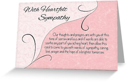 With heartfelt sympathy with words pastel pink vintage scrolls with heartfelt sympathy with words pastel pink vintage scrolls by samantha harrison m4hsunfo