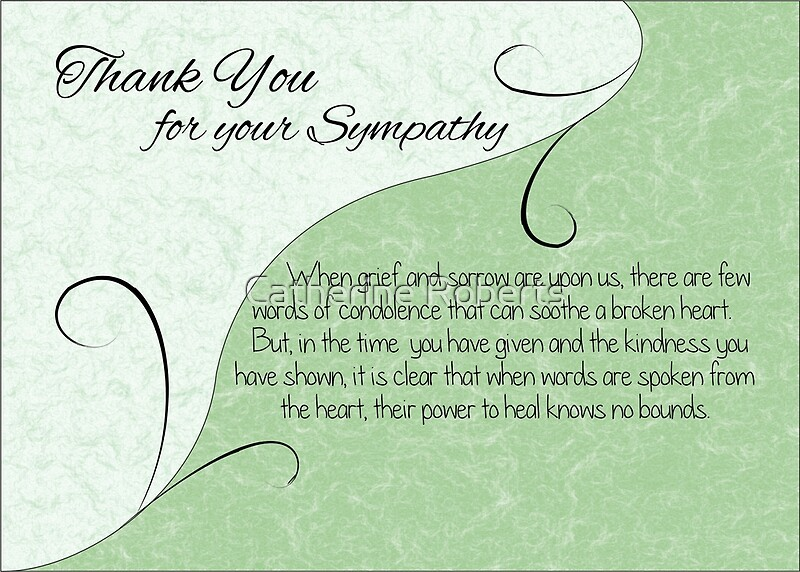 Thank You Sympathy Card - Pastel Green With Vintage Scrolls