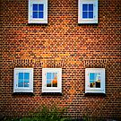 Five windows on a red tile wall by marina63