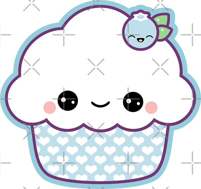 """Cute Blueberry Cupcake"" Stickers by sugarhai 
