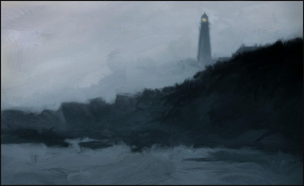 Portland Headlight in the fog by Dave  Higgins