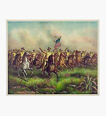 Theodore Roosevelt and the Rough Riders Charging San Juan Hill Photographic Print