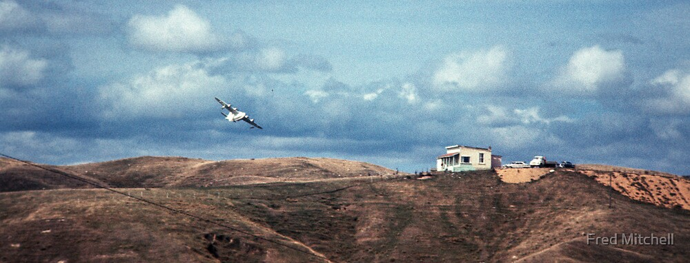 Flying boat over golf club house  19650800 0012  by Fred Mitchell