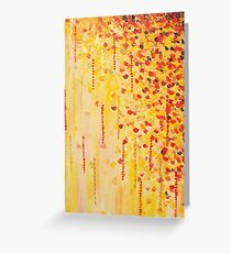 WHEN IT FALLS Bold Autumn Winter Leaves Abstract Acrylic Painting Christmas Red Orange Gold Gift Greeting Card