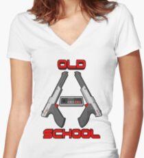 Old School Gamer 2 Women's Fitted V-Neck T-Shirt