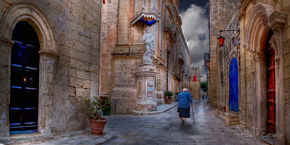 En route to Daily Mass --- Mdina (Island of Malta) by Edwin  Catania