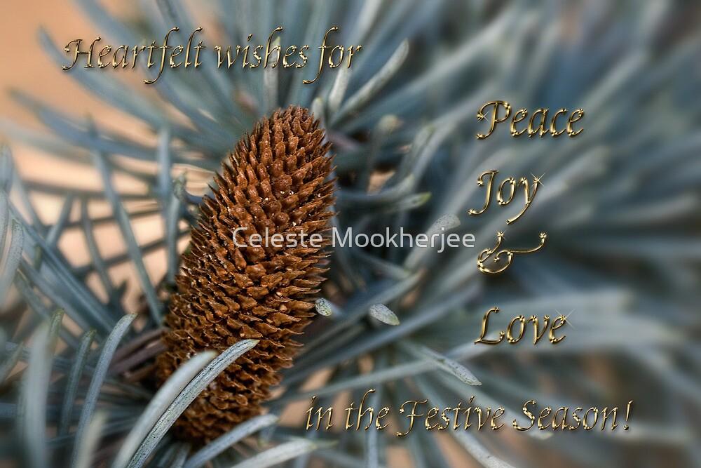 Blue atlas cedar holiday card by Celeste Mookherjee