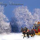 Winter Stagecoach Ride Merry Christmas Card by Randy Branham