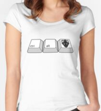 hold ctrl + alt + DELETE!!! Women's Fitted Scoop T-Shirt