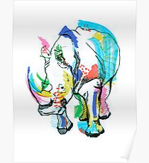 Rhino colour Poster