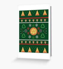 Winter Pizza in Green Greeting Card