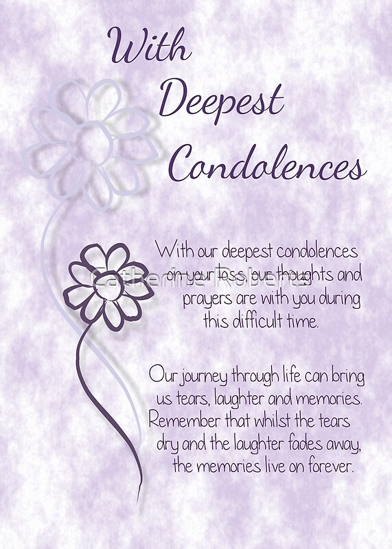 with deepest condolences lilac sketched flowers with