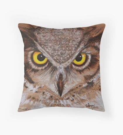 PYROGRAPHY: Great Horned Owl Throw Pillow