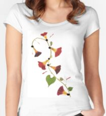 Kathie McCurdy Pressed Flowers Morning Glory Vine Women's Fitted Scoop T-Shirt
