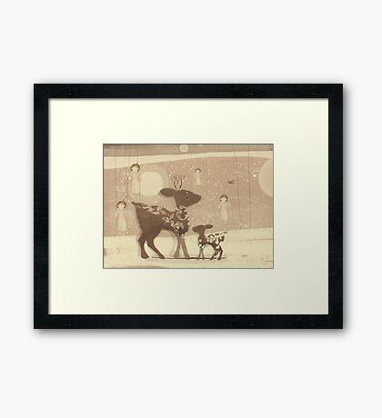 deer and angels Framed Print