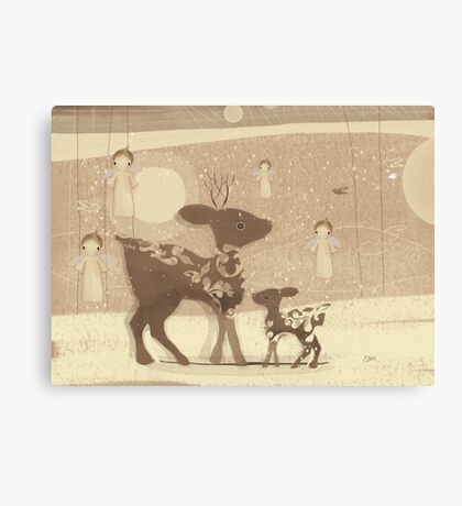 deer and angels Canvas Print