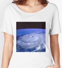 Hurricane picture of earth from space.  Women's Relaxed Fit T-Shirt