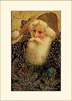 Santa with Pines Christmas Card by Pamela Phelps