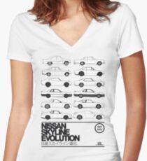 Nissan Skyline History Women's Fitted V-Neck T-Shirt