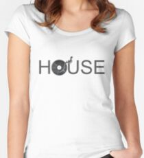 House Vinyl - Music Turntable DJ Women's Fitted Scoop T-Shirt