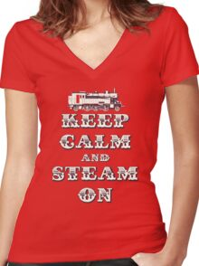 Keep Calm and Steam On Steam Engine #1B Women's Fitted V-Neck T-Shirt