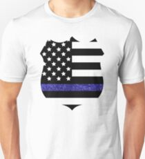 Thin Blue Line Police Flag Badge with Blue Glitter  Unisex T-Shirt