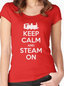 Keep Calm and Steam On Steam Engine #2A Women's Fitted Scoop T-Shirt