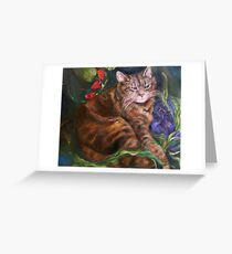 The Cat Who Loved Flowers Greeting Card