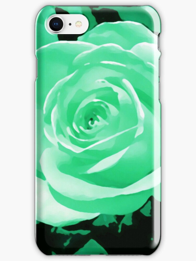 greeny blue turquoise rose flower i pod/i phone case by jenny meehan